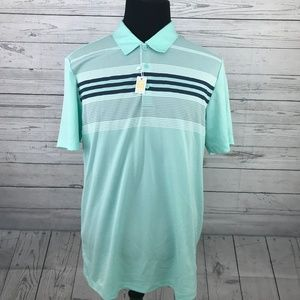 Adidas Mens Teal Striped Polo Shirt Sz L NWT